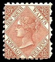 Lot 690:1882-97 Wmk 2nd Crown/NSW SG #229 4d red-brown P10.