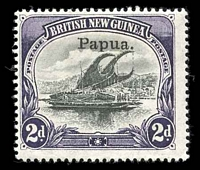 Lot 4065:1906-07 Opt Small Papua Wmk Vertical SG #40 2d black & violet.