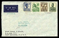 Lot 4528 [1 of 2]:1955 Commercial Airmail cover to Aden via Australia with fine Aden GPO cds 20 MY 55 on reverse.