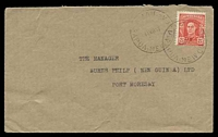 Lot 23547:Abau: cover to Port Moresby with Australian adhesive tied by Abau cds 11MR 47.