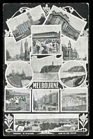 Lot 427:Australia - Victoria: Black & white Melbourne PPC with montage of views including, Panorama of Melbourne from the Fire Station, The Block, Port Melbourne, The Lawn Flemington, Queenscliff, Sorrento etc.