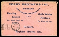 Lot 7544 [2 of 2]:1909 pink envelope with 2½d QV tied by Brisbane cds FE 26 09 with advert on reverse for PERRY BROTHERS Ltd Brisbane, nice commercial cover.