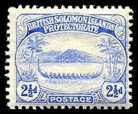 Lot 4429:1908-11 Small Canoes SG #11 2½d ultramarine.
