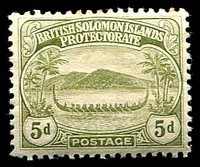 Lot 4617:1908-11 Small Canoes SG #12 5d olive.
