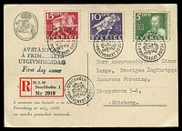 Lot 28173:1936 Swedish Post Office 300 Years 5ö, 10ö & 15ö tied to Registered Postal Museum Maxim card by Stockholm special cancel 20/2 1936, nice card.