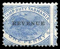 Lot 10124:Stamp Duty: 1900 1d blue platypus Optd REVENUE.