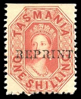 Lot 1750:1889 Reprints 1/- vermilion Chalon on thick card perf 11½ imperf at top, Optd Reprint.