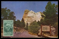 Lot 4755:1952 3c Mt Rushmore Memorial tied to multi-coloured Maxi card by Keystone cds AUG 11 1952.