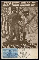 Lot 4264:1953 3c National Guard tied to maxi card by Washington cds FEB 23 1953.