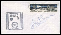 Lot 4276:1972 Apollo 16 cachet cover signed by Astronaut Ed Mitchell.