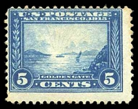 Lot 4260:1913 Panama - Pacific Exposition Sc #399 5c blue, with offset on reverse.