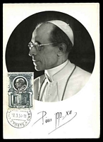 Lot 4785:1953 Popes 5L Pope Pius XII, tied to fine Maxi card by Vatican cds 19 3 54.
