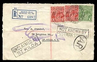 Lot 16504 [1 of 2]:St. Kilda (2): - boxed UNCLAIMED AT ST KILDA at left and boxed NOT KNOWN BY POSTMAN ST KILDA at right together with AR in oval for acknowledge receipt and violet Pointing Finger Return to Sender handstamp on registered cover to St Kilda with 1d green KGV and 2d red (2) tied by Registered Melbourne cds 7JL37, nice cover.  Renamed from Windsor PO 1/7/1858; closed 2/2/2001.