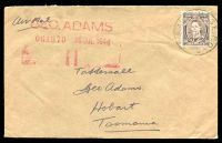 Lot 20010:1946 cover to Hobart Tasmania from Kure with Aust 3d KGVI tied by No8 Aust Base. P.O. C cds 2JY 46.