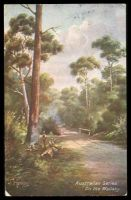 Lot 64 [1 of 2]:Australia - Artist: multi-coloured PPC 'On the Wallaby' a J Hutchings card.