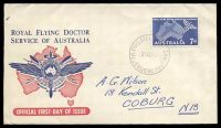 Lot 4084:Royal Flying Doctor Service 1957 7d Royal Flying Doctor illustrated FDC with 7d tied by Melbourne cds 21AU57.