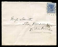 Lot 865 [1 of 2]:1884 cover to Canberra with 2d QV tied by fine '38' in rays cancel of Queanbeyan with Canberra backstamp MR12/1884, early Canberra cover.