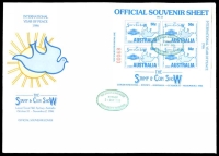Lot 927:1986 Stamp & Coin Show: International Year of Peace M/sheet tied to large illustrated cover by Stamp & Coin Show Sydney green cancel 31Oct 1986, being first day of show.