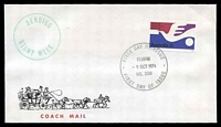 Lot 953:1974 Bendigo Stamp Week illustrated cover carried on coach mail with 7c UPU tied by Bendigo FDC 9 OCT 1974, unaddressed.