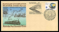 Lot 4968:1983 Centenary of Completion Melbourne - Sydney Rail Link illustrated cover with adhesive tied by Pictorial cancel 14 June 1983 and carried on Steam train from Sydney to Melbourne, unaddressed.