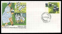 Lot 4982:1985 5th Women's World Bowls Championship 30c PSE with Pictorial cancel Reservoir 20FEB 1985, unaddressed.
