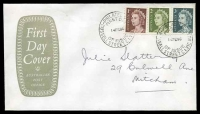 Lot 721:APO 1966 QEII 1c, 2c and 3c tied to FDC by Russell Street cds 14FE66.