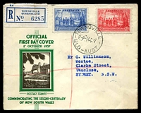 Lot 4468:APO 1937 NSW Sesquicentenary illustrated Registered cover with 2d & 3d values tied by Townsville cds 1 OC 37.