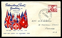 Lot 4549:Miller Bros 1948 2½d Pan Pacific Scout Jamboree on illustrated cover with adhesive tied by Melbourne cds 15NO48.