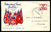 Lot 4331:Miller Bros 1948 2½d Pan Pacific Scout Jamboree on illustrated cover with adhesive tied by Melbourne cds 15NO48.