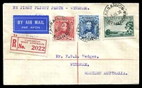 Lot 4377:1930 Carnarvon - Wyndham AAMC #165a Registered cover with adhesives tied by Carnarvon cds 9 JUL 30 and backstamped Wyndham 14 JUL 30, fine Intermediate flight.