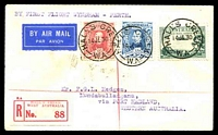 Lot 4762:1930 Hall's Creek - Broome AAMC #165a Registered cover with adhesives cancelled by fine Hall's Creek cds 14JL 30, scarce intermediate flight