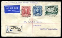 Lot 611:1930 Perth - Wyndham AAMC #165a Registered cover with adhesives tied by Perth cds 8 JUL 30 and backstamped Wyndhan 14JUL 30, fine Intermediate flight.