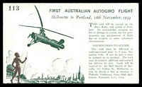Lot 617 [2 of 2]:1934 Melbourne - Portland AAMC #461 Autogiro Post Card with cachet at left and numbered.