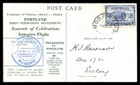 Lot 617 [1 of 2]:1934 Melbourne - Portland AAMC #461 Autogiro Post Card with cachet at left and numbered.