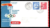 Lot 649:1956 Greece - Australia AAMC #1362 illustrated Qantas Olympic Torch Flight cover, Olympic Main Stadium backstamp, addressed to NSW.