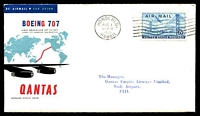 Lot 4822:1959 Hawaii - Fiji AAMC #1407a illustrated Qantas cover with USA adhesive tied by Hawaii machine cancel AUG 1 1959 and backstamped Nadi Airport Fiji 2 Aug59, intermediate flight.
