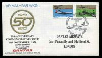Lot 824 [1 of 2]:1970 Australia - England AAMC #1718 illustrated 50th Anniversary Qantas Commemorative cover with Qantas adhesives tied by commemorative postmark.