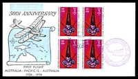 Lot 5246 [1 of 2]:1976 New Hebrides - Melbourne AAMC #1800b illustrated 50th Anniversary flight with New Hebrides adhesives tied by Port Vila cds 4 10 76 with various cachets, vignette and Pilot's signature handstamps on reverse Intermediate flight.