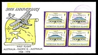 Lot 651 [1 of 2]:1976 Norfolk Island - Melbourne AAMC #1800b illustrated 50th Anniversary flight with Norfolk Island adhesives tied by Norfolk Island cds 6 OC 76 with various cachets, vignette and Pilot's signature handstamps on reverse Intermediate flight.