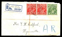 Lot 5159:1931 Registered Cover from Port Lincoln to Kyancutta with 1d green KGV and 2d red KGV pair tied by Pt Lincoln cds 21 SE 31, with 'A.R.' handstamp at lower right, neat cover.