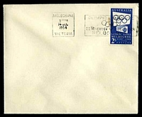 Lot 871:1954 2/- blue Olympic Games tied to plain envelope by Melbourne Olympic Games promotional machine cancel 14DEC1954, unaddressed.