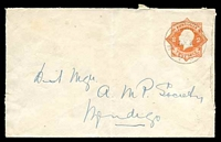 Lot 689:1920-21 2d Orange KGV Star No 'POSTAGE' BW #EP21 cancelled M O Rushworth in 1933, roughly opened.