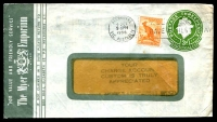 Lot 703:1953-57 3d Green QEII Large Die BW #ES91 on window faced envelope for The Myer Emporium uprated with ½d Roo, used in 1956.