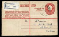 Lot 693:1956-58 1/7d Red QEII BW #RE38, 1/7d red on cream used from Wonthaggi Victoria in 1957.