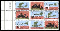 Lot 3037:1969 England-Australia Flight Anniversary BW #515cb marginal se-tenant block of 9.