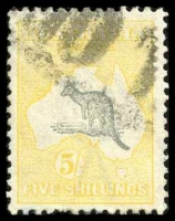 Lot 992:5/- Grey & Yellow BW #44 with part parcel cancel.