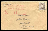 Lot 19546:1946 cover to Hobart Tasmania from Kure with Aust 3d KGVI tied by No8 Aust Base. P.O. C cds 2JY 46.