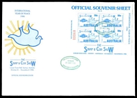 Lot 16:Australia: 1986 Stamp & Coin Show International Year of Peace M/sheet tied to large illustrated cover by Stamp & Coin Show Sydney green cancel 31Oct 1986, being first day of show.