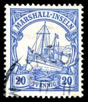 Lot 21932:1901 Yacht No Wmk Mi #16 20pf blue with part Jaluit cds.