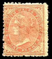 Lot 669:1863-69 DLR Wmk Single Lined 1 Perf 13 SG #195 1d pale red.